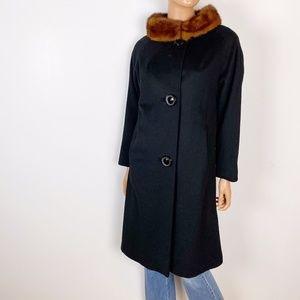 Jackets & Blazers - vintage full length black wool dress coat 10